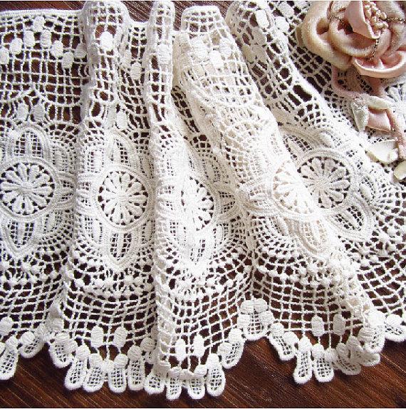 -Crochet-cotton-lace-trim-vintage-stile-tessuto-trim-pizzo-antico-bordo-in-pizzo-in-ecru